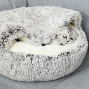 40/50cm Warm Cat Calming Bed Soft Plush Round Nest Dog Sleeping Bed Cushion