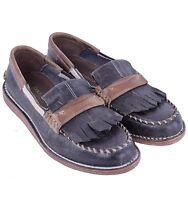 DOLCE & GABBANA Solid Vintage Loafer Shoes Black Brown 04193