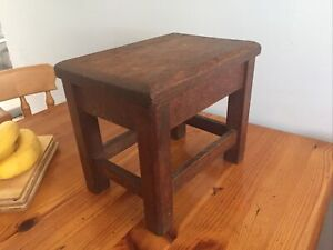 Nice Small Vintage / Antique ? Four Leg Oak Wood Wooden Foot Stool Seat Chair