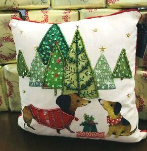Holiday **DACHSHUNDS & CHRISTMAS TREES** Beaded trim Christmas PILLOW 12X12 NWT