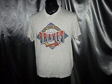 M-L vtg Atlanta Braves T Shirt soft Thin 50/50 Usa made Baseball 90s 1992 Trench
