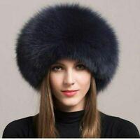 Women Winter Real Fox Fur Hat Genuine Leather Keep warm Hats Xmas Gift