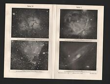 Licht-Druck 1907: NEBEL I-IV. Orion-Amerika-Trifid-Nebel Dumb-Bell-Nebel Schwan