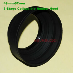 49mm-82mm 3-Stage Collapsible Rubber Hood for Lens With 49mm - 82mm Screw Thread