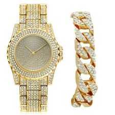 """Mens Hip Hop 9"""" Bling watch & 9"""" Iced Out Bracelet Men's Jewelry Gold Jewellery"""