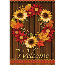 """New listing Golden Floral Wreath Welcome House Flag 28"""" x 40"""" Double sided Flag by Carson"""