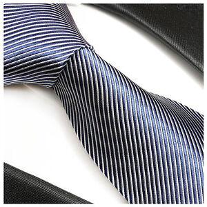 Paul Malone Krawatte blau gestreift Seide - blaue Seidenkrawatte 519