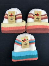 Vintage Wigwam Ski Hat Stocking Cap Nwt Lot of 3 Creslan Acrylic Striped Winter
