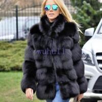 Women's Solid WinterFaux Fox Fur Coat Thick Casual Warm Fur Jacket Parka Warm