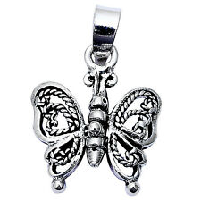 "Antique Filigree Flexible Butterfly .925 Sterling Silver Pendant 1"" long"