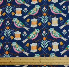 Dashwood Stitch Fabric Birds Cotton  Blue By The Half Metre