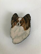 Small Papillon Brown and White Dog Head Hat Pin Jewelry