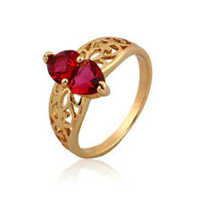 18ct 18k Yellow Gold Filled GF Filigree Red CZ wedding ring woman Sz7 R-A292