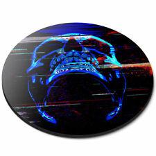 Round Mouse Mat - Digital Glitch Art Neon Skill Office Gift #21459
