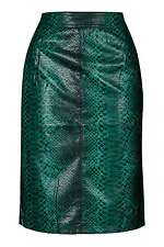Topshop python vert effet serpent crayon Midi Jupe SPLIT Dos UK 10 RRP £ 42