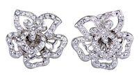 Swarovski Elements Crystal Flower Pierced Earrings Rhodium Authentic New 7111u