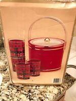 GEORGES BRIARD Red/Timberland 5 piece set Vintage Ice Bucket Glasses