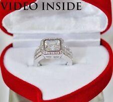 Asscher Engagement White Gold Excellent Fine Diamond Rings