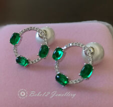 Simulated Emerald/Green stone Stud/Circle/Ring Design Earring/RGE648