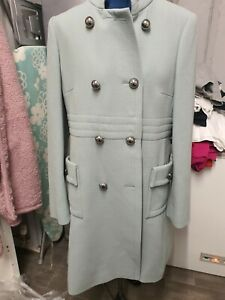 HOBBS STUNNING QUALITY DOUBLE BREASTED MID LENGTH COAT UK 12 SAGE GREEN