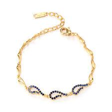 Womens Girls Chain Bracelet Bangle Jewelry Blue Crystal 18K Yellow Gold Plated