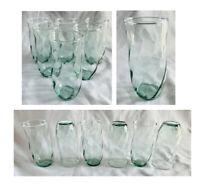 Vintage Libbey Drinking Glass Tumblers 16 oz Green SWIRL Set of 6