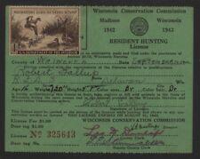 US Scott RW9 Duck Stamp 1962 Wisconsin License