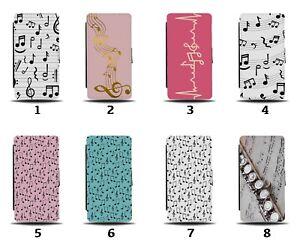 Music Notes Flip Wallet Case Musical Note Score Writing Shapes Symbols 8224b