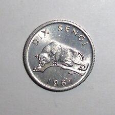 Congo 10 sengis, Leopard, cat animal wildlife coin