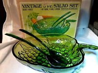 "Vintage Indiana Glass 3 Pc. Salad Set Olive Green 10"" Bowl Fork Spoon 0823 W/Box"