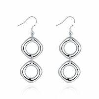 925 Sterling Silver Round Chain Drop/Dangle Earrings For Fashion Women Jewelry
