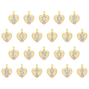 10K Tri-Color Gold CC D/C Initials Heart Charms Frame Pendants A to