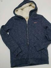 Women's Hollister Zip Up Small Hoodie Sweatshirt Blue Faux Fur Lined has pockets