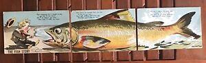 """Vintage 3-piece Puzzle Postcard Set - """"The Fish Story"""" 1906"""