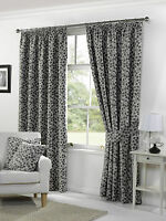 "Floral Lynwood Fully Lined Pencil Pleat Curtains - Grey - 117x137cm (46x54"")"