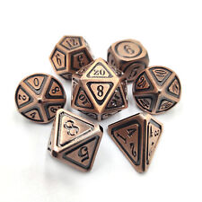 7Pcs Red Copper Metal Polyhedral Dice for Dungeons & Dragons DND RPG Board Game