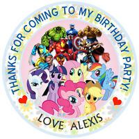 "30xPersonalised My little pony+super hero 50mm 2"" Party Stickers thank you label"
