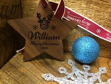Solid Walnut Personalised Christmas Tree Decoration Bauble Merry/1st Christmas