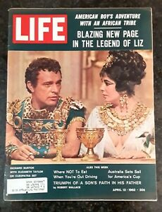 Life Magazine April 13,1962 (Richard Burton & Liz Taylor) w/ Mantle Maris Cards)