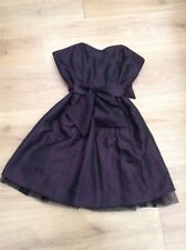 WOMENS BLACK / PURPLE BELTED BOOBTUBE NETTED SKATER DRESS NEXT SIZE 6 EX CON