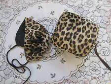 Vintage Leopard Print Satin Muff Hand Warmer& Baby Hat