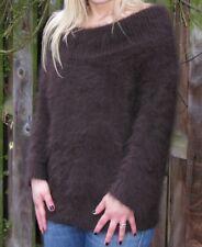 "Ladies Stunning Fluffy Soft Brown Quality Angora Sweater Jumper>M>34"">£19.99"