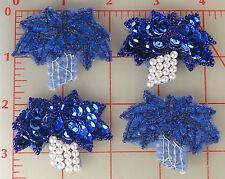 "24 vintage beaded sequin grape appliques blue leaves pearl grapes 12 pair 1 5/8"""
