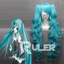 Nouveau long Vocaloid-Hatsune Miku Blue Anime Cosplay perruque + 2 Clip On Ponytail