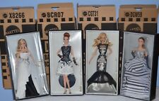 4 Barbie Platinum Label Black and White Beaded Gown Leatherette Classic Chiffon