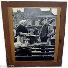 Vintage Photo Print, B/W Photo Printing in Wood Frame, Farmer's Market