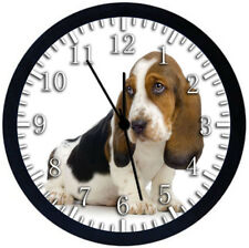 Basset Hound Black Frame Wall Clock F38