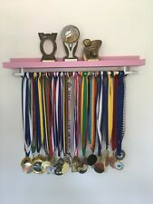 🥇DOUBLE Medal Hanger & Trophy Shelf Running Gymnastics Cheer Swimming In Pink🥇