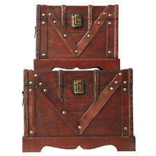 New Vintiquewise Old Style Treasure Chest Set of 2, QI003027.2
