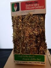 Vintage Christmas Tree Tinsel Garland Decoration Gold 5 Yards Doubl*Glo
